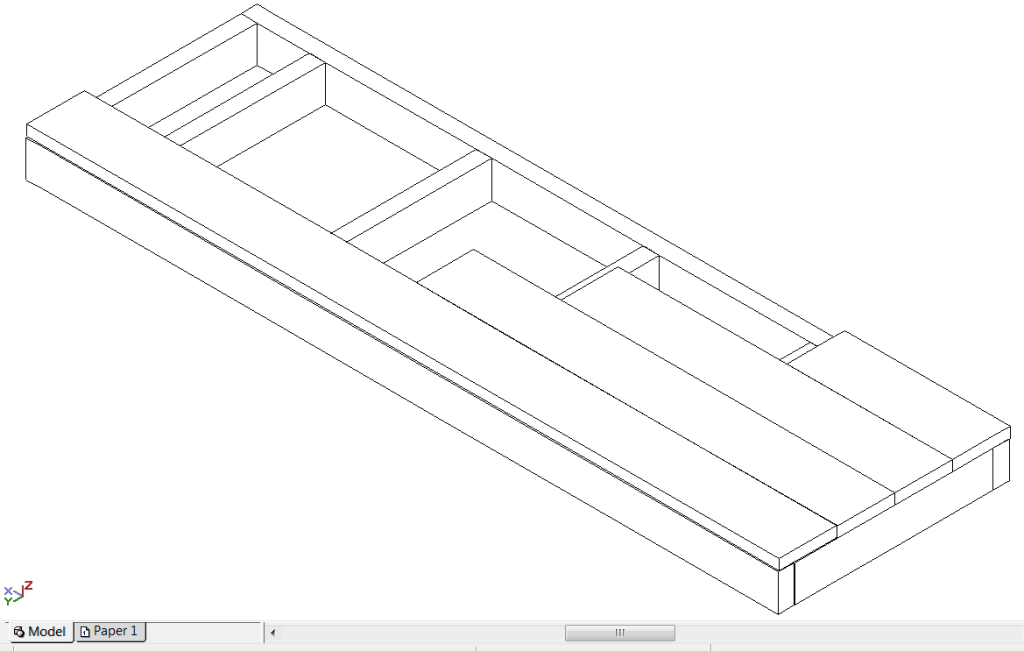 wire frame render of a single step