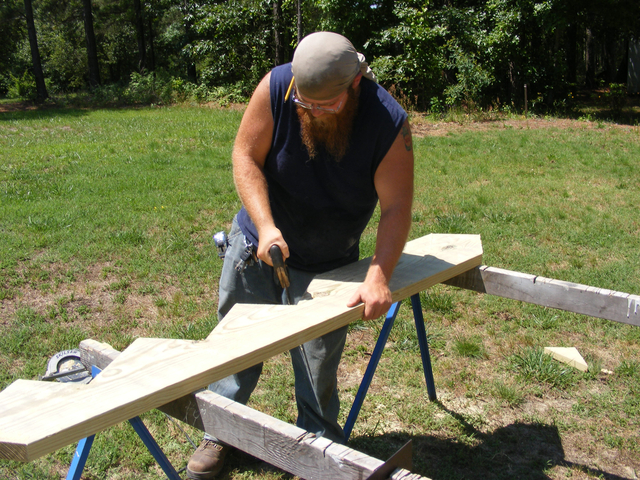 sawing a stair stringer