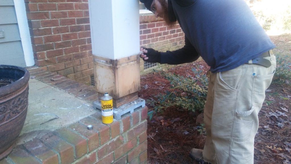sealing soft areas of wood before repairing a column base