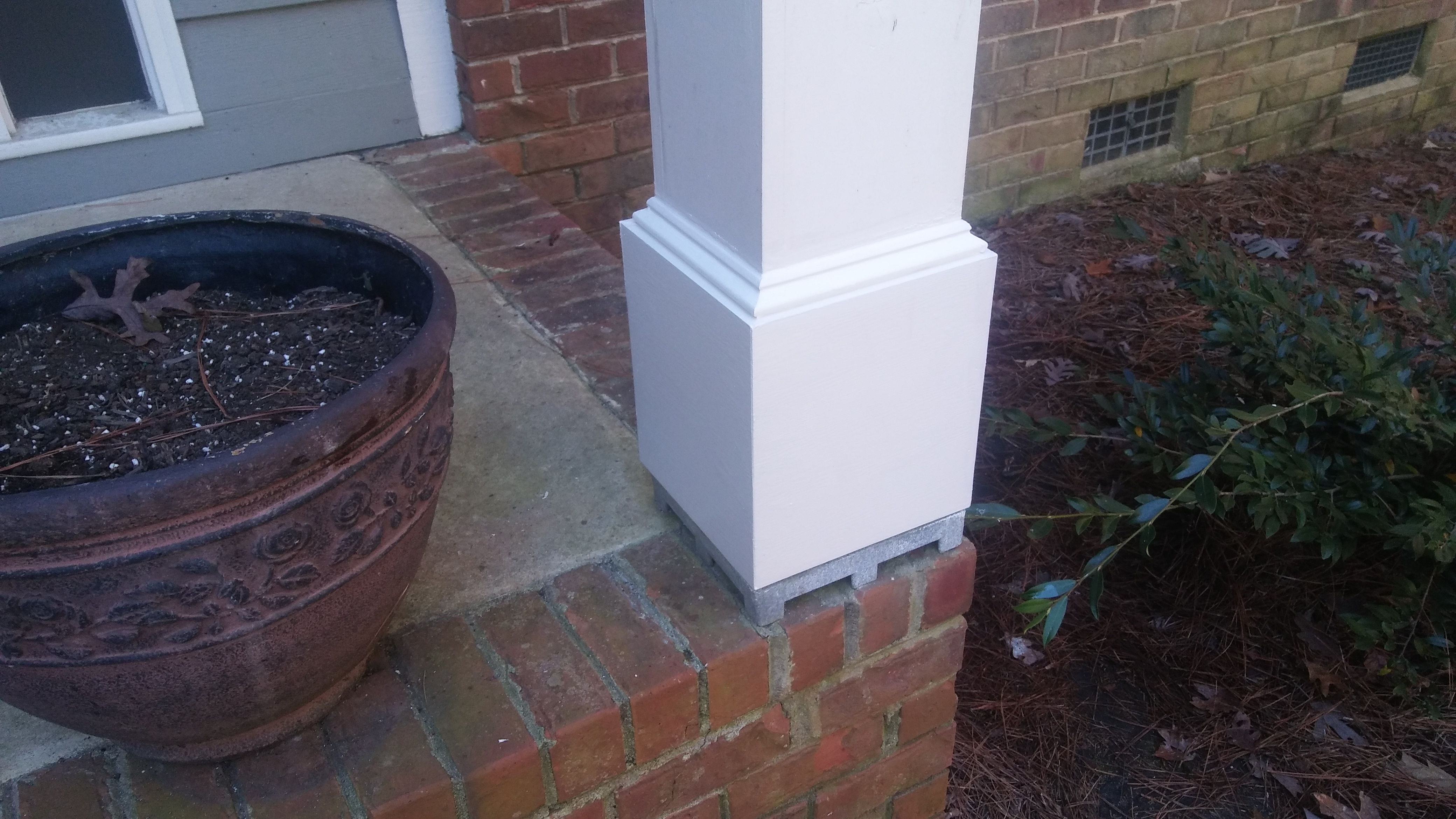 Repairing A Column Base The Two Blocks Of Treated Wood Between Bottom And Aluminum Suggest Previous Repair May Have Been Made In Which